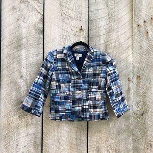 LOFT | blue plaid patchwork blazer
